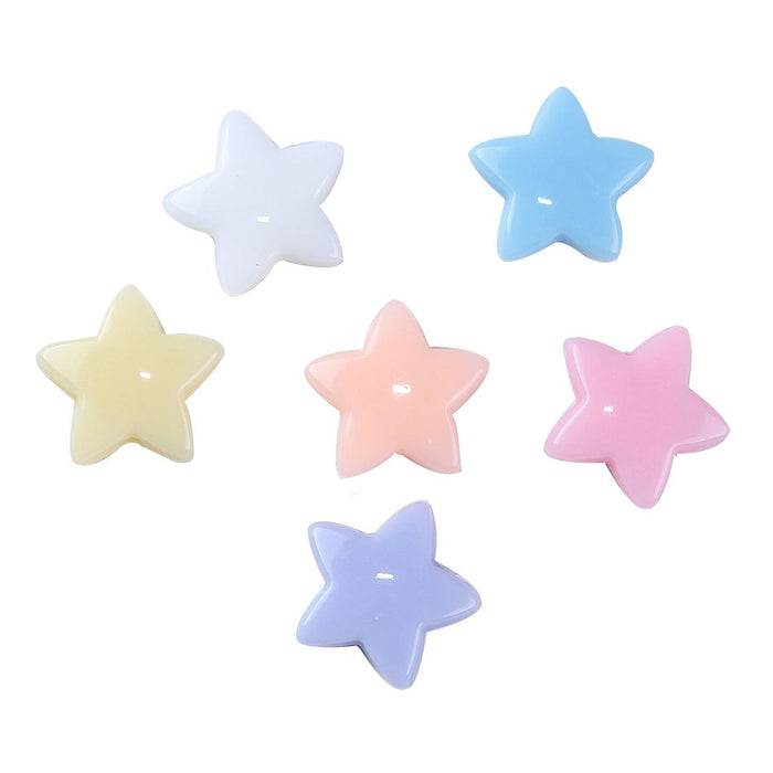600 Assorted Pastel Star Acrylic Beads 14mm with 1.6mm Hole
