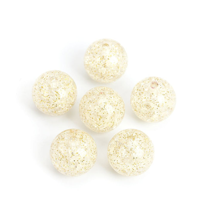 20 Round Gold Glitter Clear Acrylic Beads 20mm Diameter with 3mm Hole