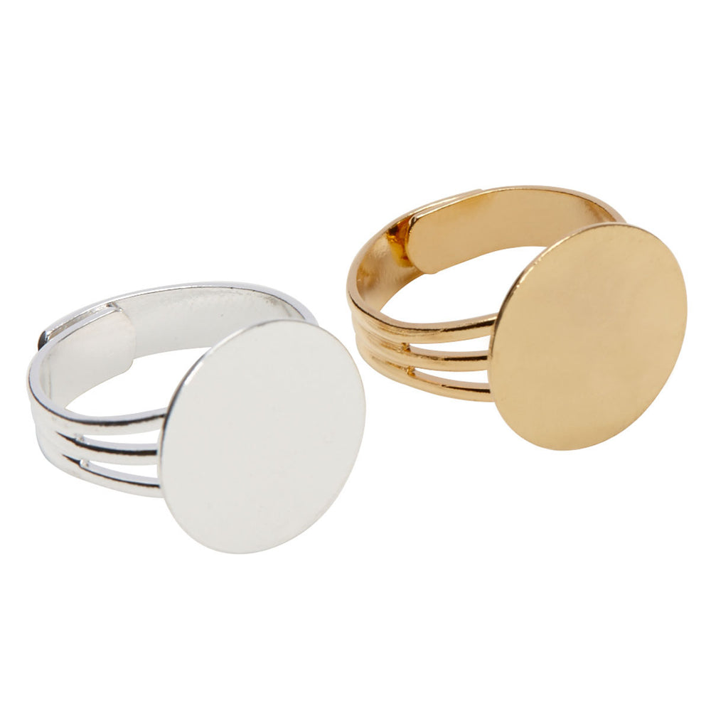 Gold and Silver Plated Ring Blanks with 16mm Flat Adjustable Ring Base - 12 Ring Blanks Total