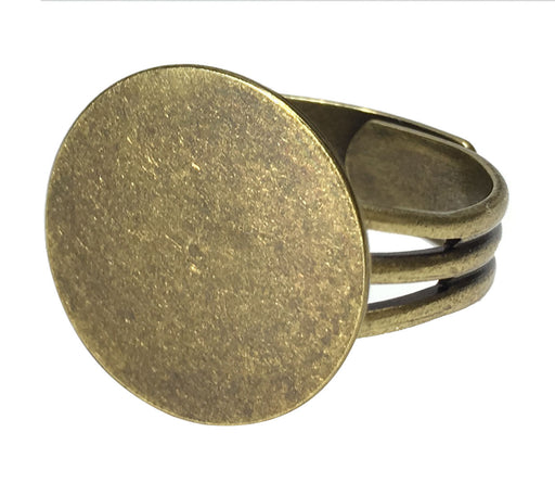 Antiqued Brass Plated Ring Blanks with 16mm Flat Adjustable Ring Base - 12 Ring Blanks Total