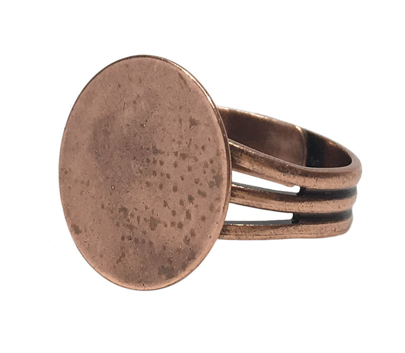 Antiqued Copper Plated Ring Blanks with 16mm Flat Adjustable Ring Base - 12 Ring Blanks Total