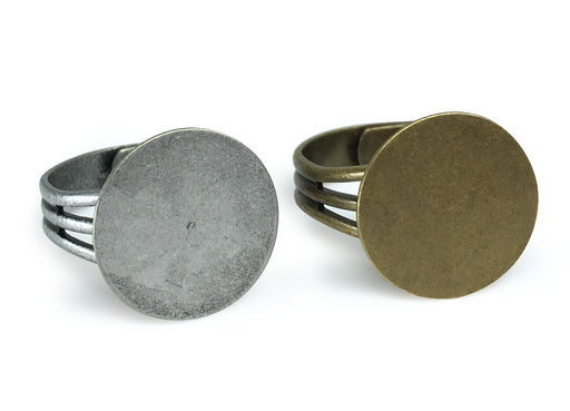 Antique Brass and Antique Silver Ring Blanks with 16mm Flat Adjustable Ring Base 6 Pcs Brass and 6 Pcs Silver - 12 Blank Rings Total
