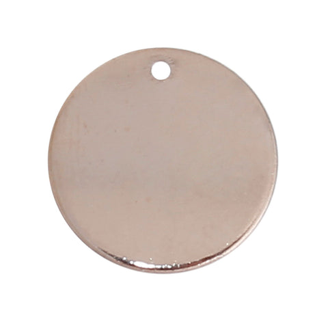 10 Rose Gold Plated Copper Round Circle Stamping Blank Tags for Metal Stamping 15mm or 5/8 Inch Diameter