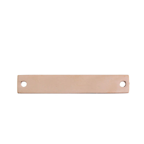 4 Count Rose Gold Plated Rectangle Bar Metal Stamping Blank Tag with Two Holes 38mm x 6mm