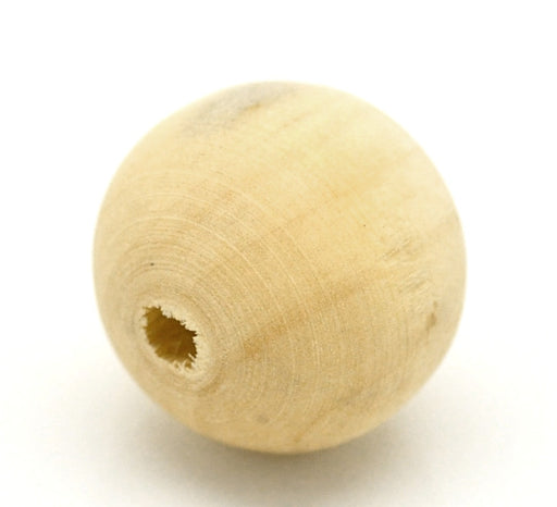 50 Round Natural Wood Beads 20mm Diameter 3.8mm Large Hole Unfinished
