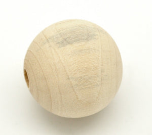 30 Round Unfinished Wood Beads 25mm Diameter 5mm Large Hole