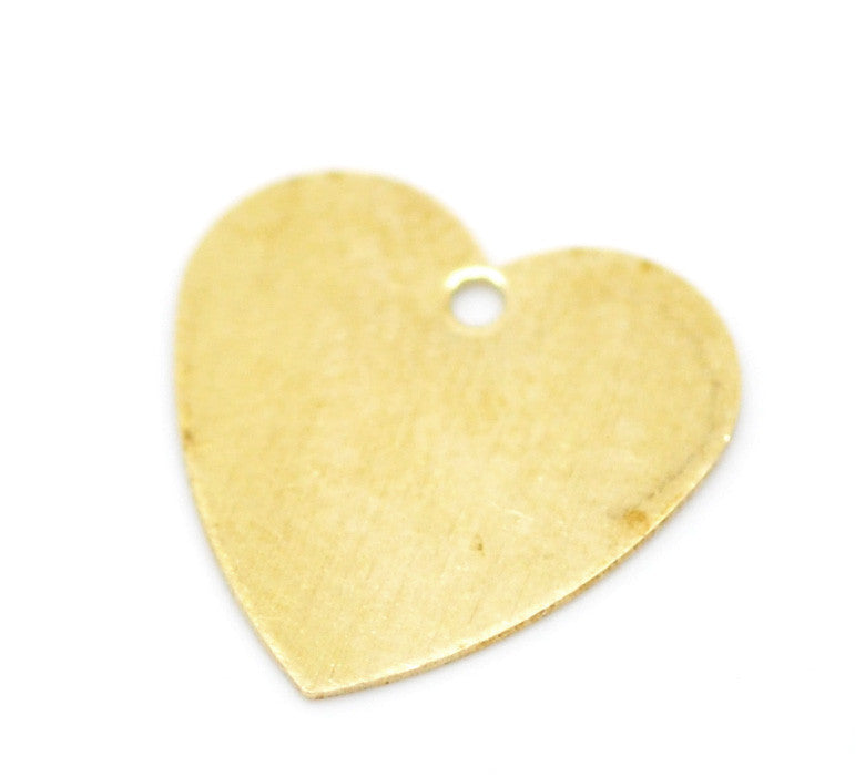100 Brass Heart Stamping Metal Blank Tags for Metal Stamping with Hole 13mm X 13mm