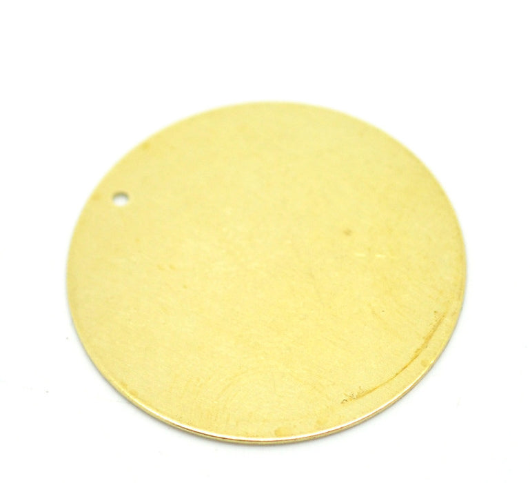 30 Brass Round Circle Metal Stamping Blank Tags 28mm in Diameter with Hole