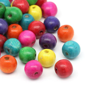 400 Round Painted Multi Color Wood Beads 14mm x 13mm Diameter 4.5mm Large Hole