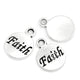50 Antique Silver Circle Round Faith Word Charm with Ring 15 x 12mm