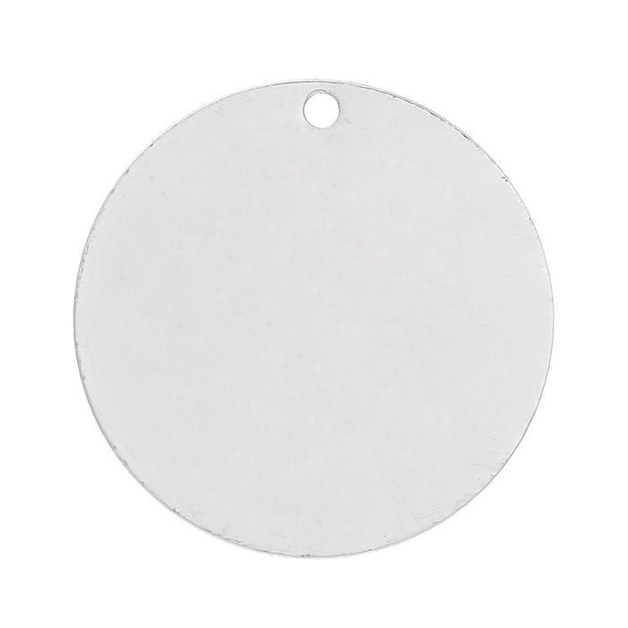 20 Silver Plated Copper Round Circle Stamping Blank Tags for Metal Stamping 25mm or 1 Inch