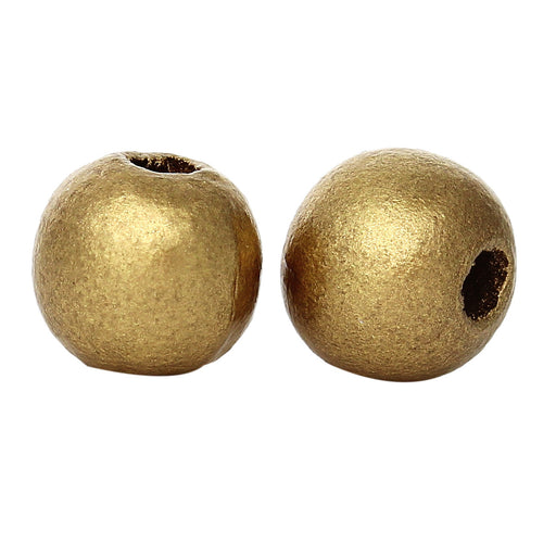 1,000 Gold Metallic 10mm Wood Spacer Beads Round with 3.5mm Hole