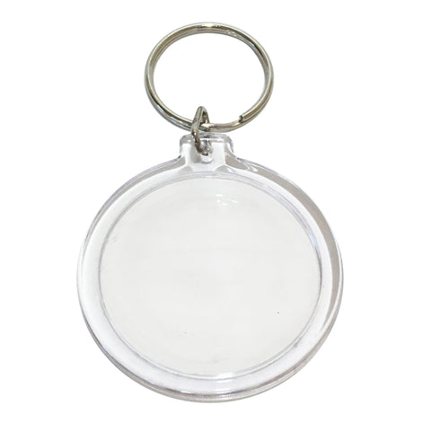 10 Clear Acrylic Snap In Round Photo Key Chains 7.9cm x 4.5cm