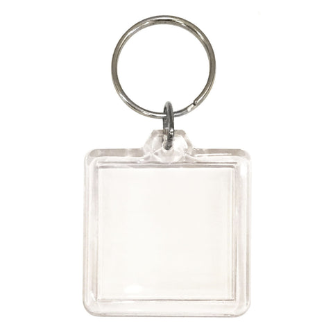 10 Clear Acrylic Snap In Square Photo Key Chains 7.9cm x 4.5cm