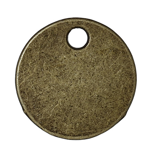 50 Antique Bronze Tone Round Circle Metal Stamping Blank and Crafting Tags 16mm Diameter Metal Blanks