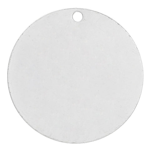10 Silver Plated Copper Round Circle Stamping Blank Tags for Metal Stamping 30 mm Diameter