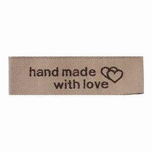 50 Count Handmade Fabric Labels with Interlocking Hearts Light Coffee Color 50mm x 15mm