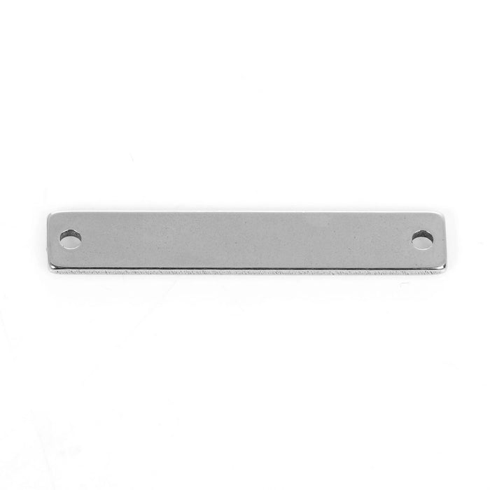 10 Count Stainless Steel Rectangle Bar Metal Stamping Blank Tag with Two Holes 38mm x 6mm