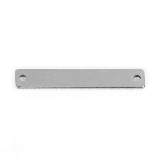 5 Count Stainless Steel Rectangle Bar Metal Stamping Blank Tag with Two Holes 38mm x 6mm