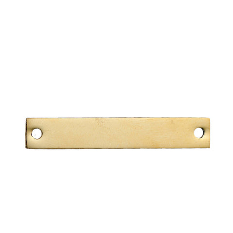 5 Count Gold Plated Rectangle Bar Metal Stamping Blank Tag with Two Holes 38mm x 6mm