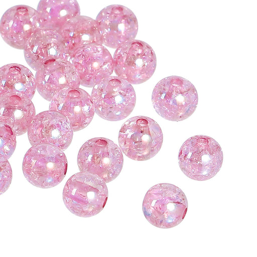 600 Round Acrylic Pastel Baby Pink Crackle AB Spacer Beads 8mm with 2mm Hole