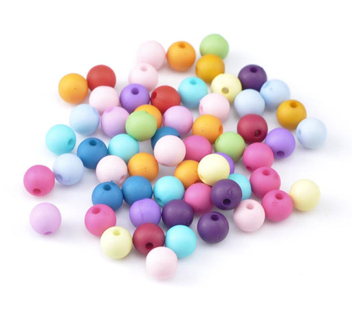 600 Round Assorted Matte Pastel Acrylic Beads 8mm with 1.8mm Hole