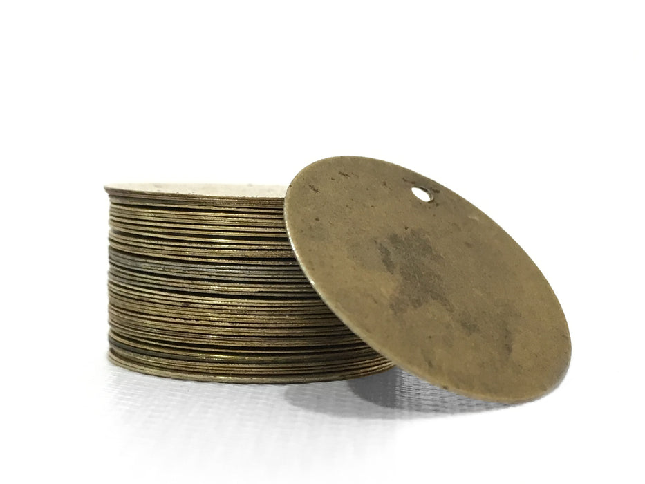 200 Antique Bronze Tone Stamping Blanks Round Tags for Metal Stamping - 20mm Diameter