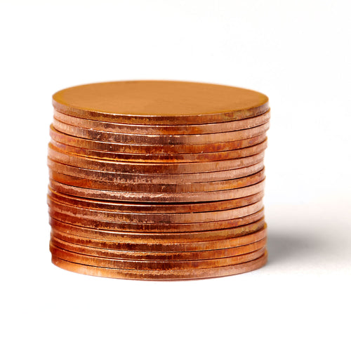12 Count 1 Inch Round Copper Metal Stamping Blanks - 24 Gauge