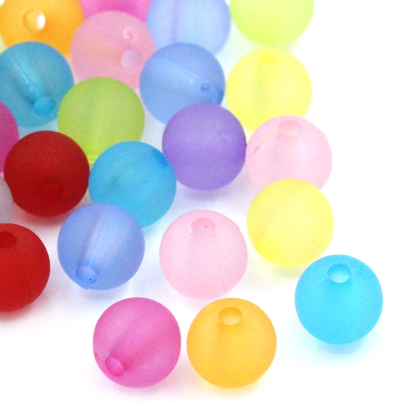 2,000 Round Pastel Frosted Acrylic Matte Beads 6mm with 1mm Hole