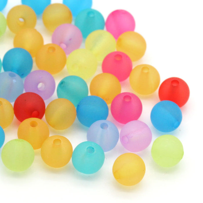 900 Round Pastel Frosted Acrylic Beads 8mm with 1.5mm Hole
