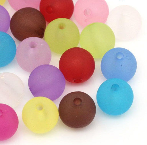 300 Round Frosted Pastel Acrylic Beads 12mm with 2.3mm Hole