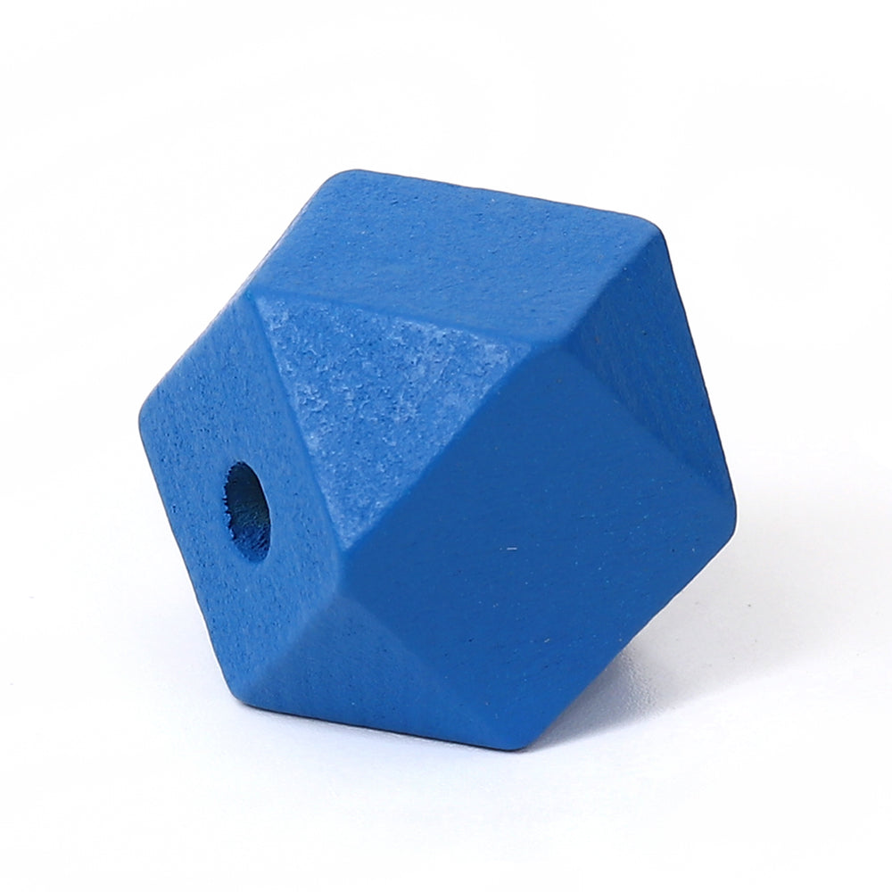 30 Blue Painted 20mm Geometric Faceted Wood Bead with 4.2mm Hole