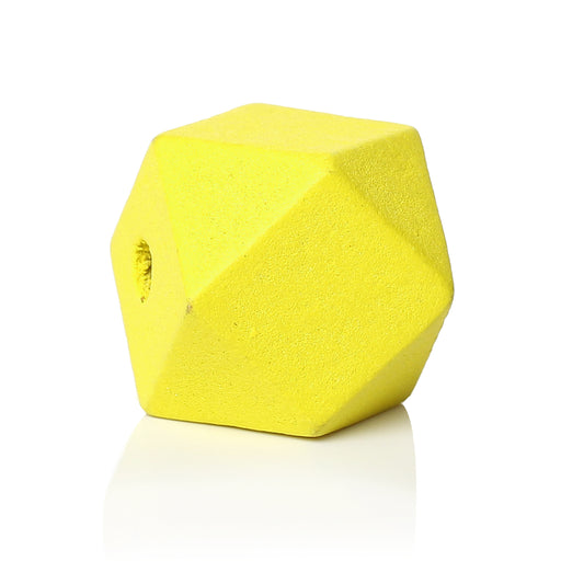 30 Yellow Painted 20mm Geometric Faceted Wood Bead with 4.2mm Hole