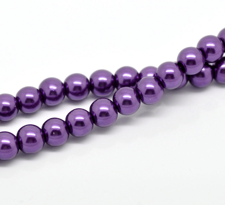 1,100 Purple Glass Imitation Pearl Beads 8mm or 5/16 Inch Glass Beads 1mm Hole - 10 Strands