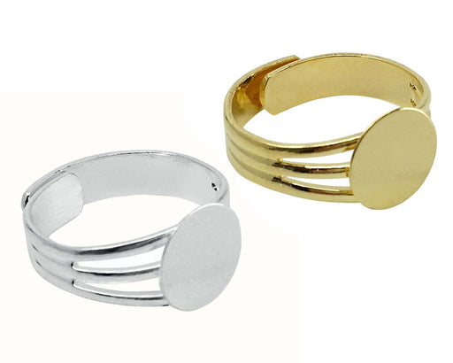 Gold and Silver Plated Ring Blanks with 10mm Flat Adjustable Ring Base - 12 Ring Blanks Total