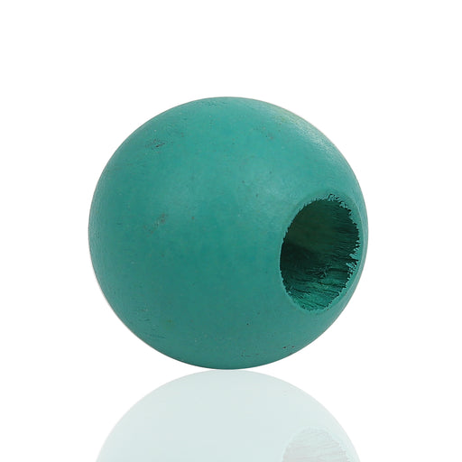 40 Dark Teal Macrame Wood Bead 24mm with 9mm Large Hole
