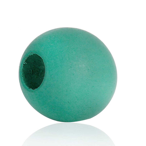 40 Light Teal Macrame Wood Bead 24mm with 9mm Large Hole