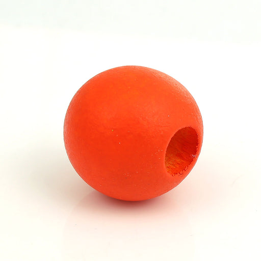 40 Orange Macrame Wood Bead 24mm with 9mm Large Hole