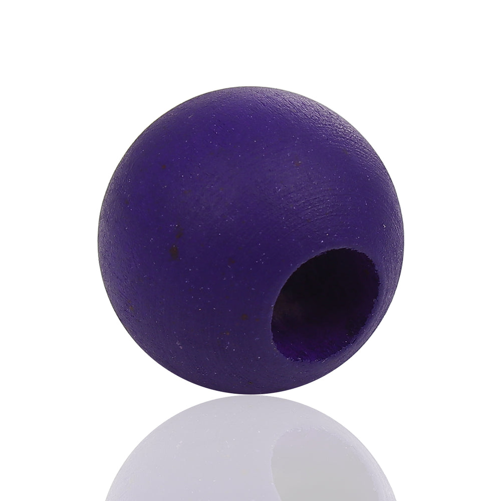 40 Purple Macrame Wood Bead 24mm with 9mm Large Hole