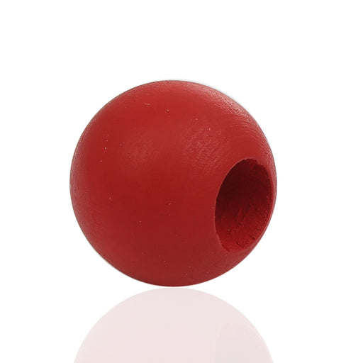 40 Red Macrame Wood Bead 24mm with 9mm Large Hole