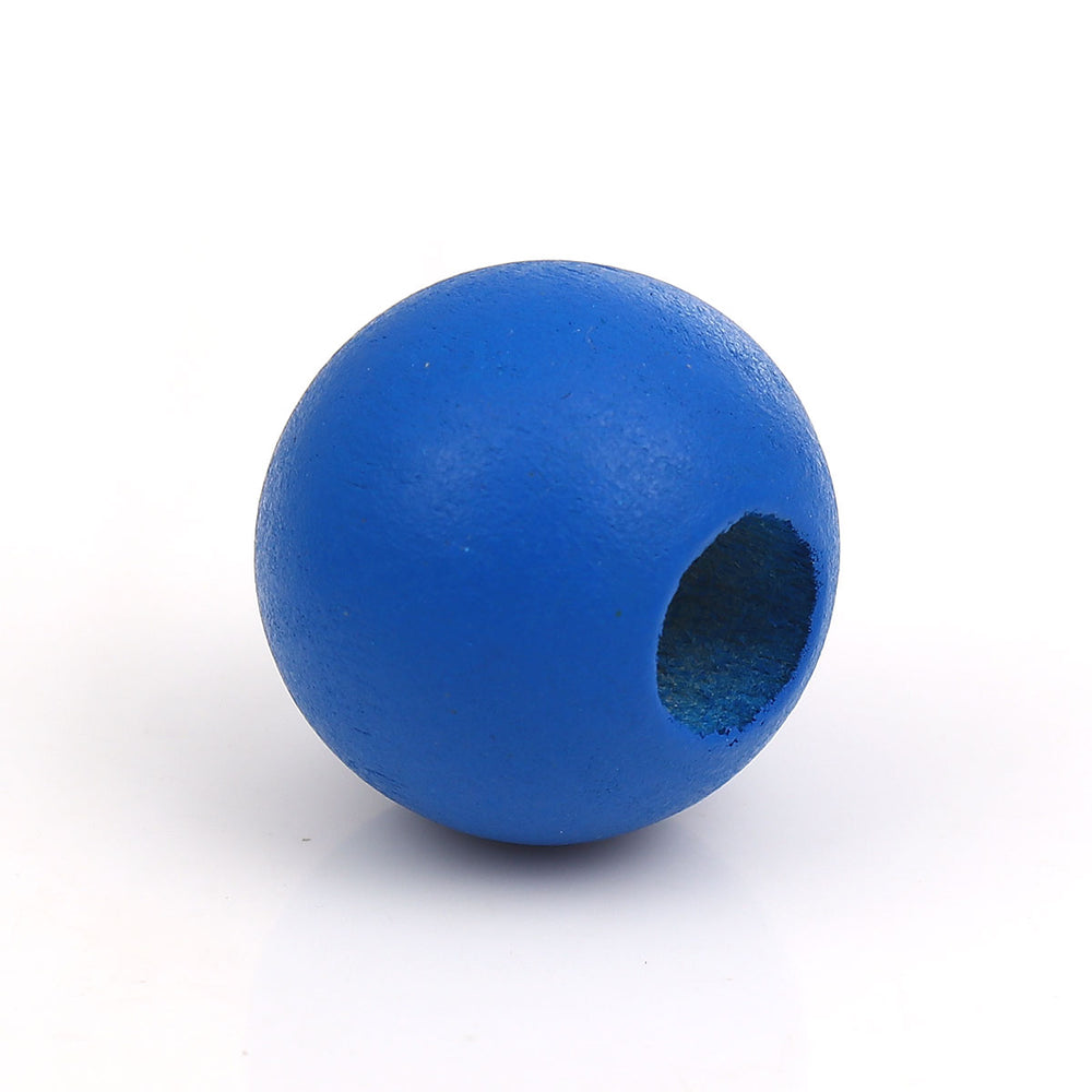 40 Royal Blue Macrame Wood Bead 24mm with 9mm Large Hole