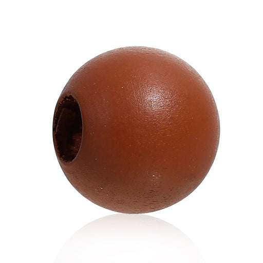 40 Brown Macrame Wood Bead 24mm with 9mm Large Hole