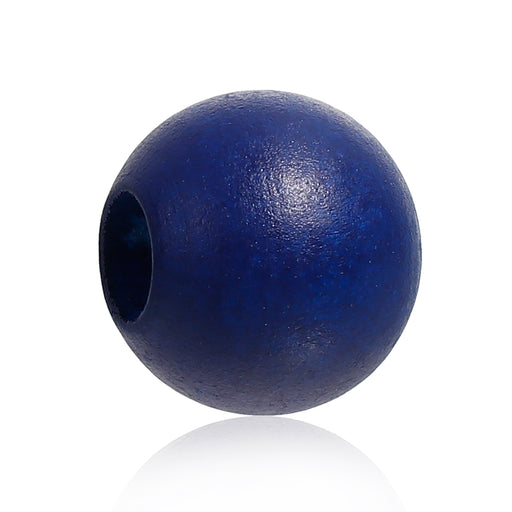 40 Navy Macrame Wood Bead 24mm with 9mm Large Hole