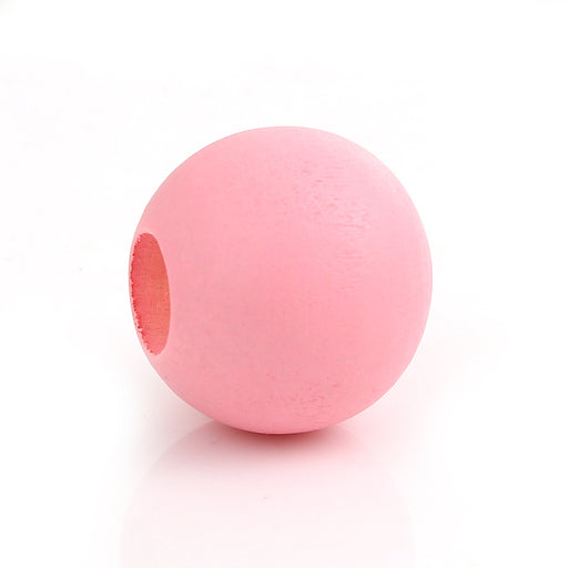40 Pink Macrame Wood Bead 24mm with 9mm Large Hole