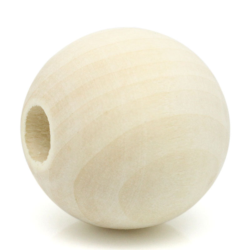 20 Large Round Wood Beads Bulk 35mm with 10mm Hole