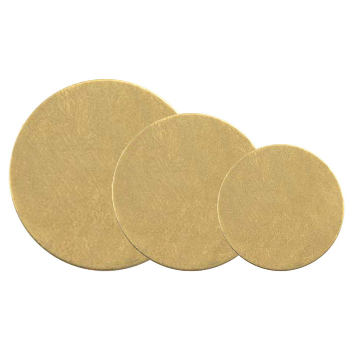 Brass Disc Assortment 1.5, 1.25, 1 Inch 24 Gauge Metal Stamping Blanks 6 Each Size 18 Blanks Total