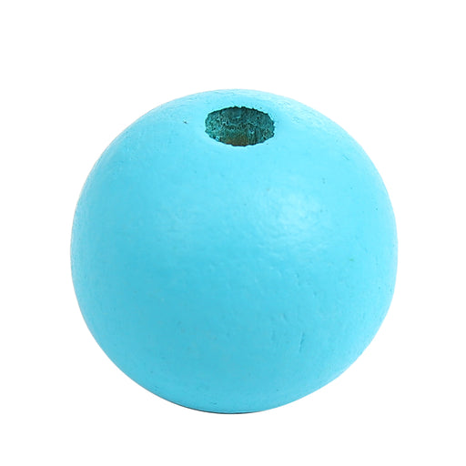100 Painted Light Blue Wood Beads 20mm with 3mm Hole