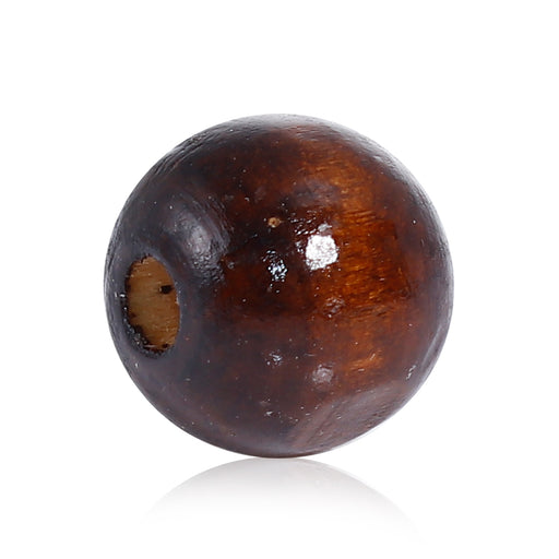 200 Brown Stained Round Wood Beads 20mm with 5.2mm Hole