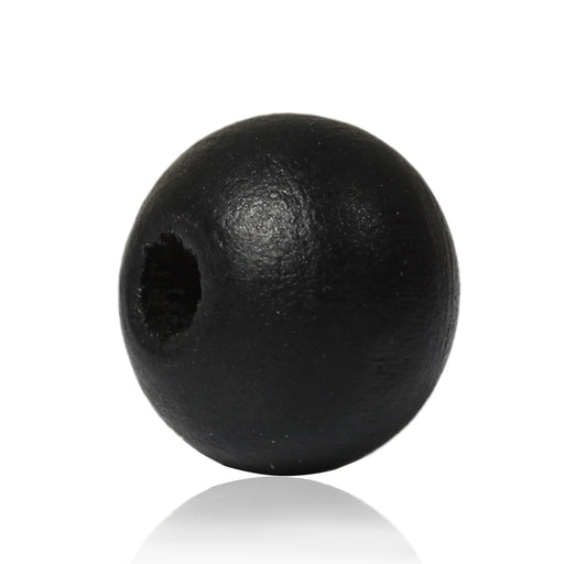1,000 Painted Black Round Wood Beads 8mm with 2mm Hole