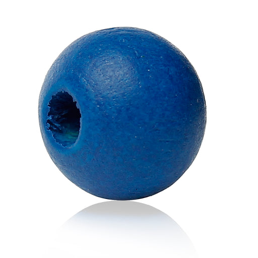 1,000 Painted Blue Round Wood Beads 8mm with 2mm Hole